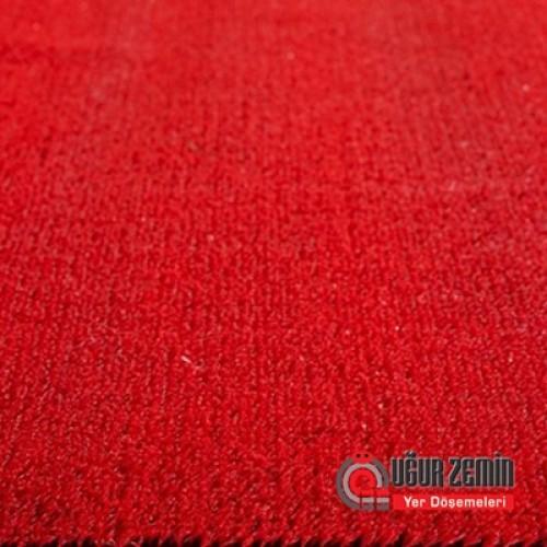 Nurteks 7 mm Düz Kırmızı Suni Çim Halı